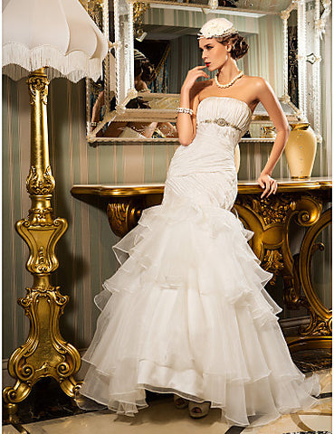 Fit and Flare Strapless Floor-length Taffeta And Organza Wedding Dress