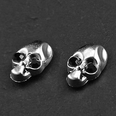 Punk Black Rhinestone Skull Magnetic Earrings(1 Pair)
