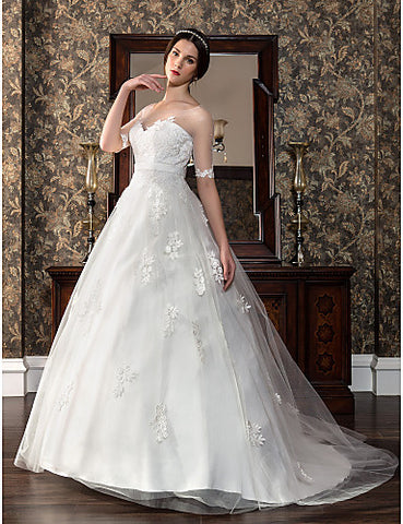 A-line Sweetheart Court Train Satin And Tulle Wedding Dress