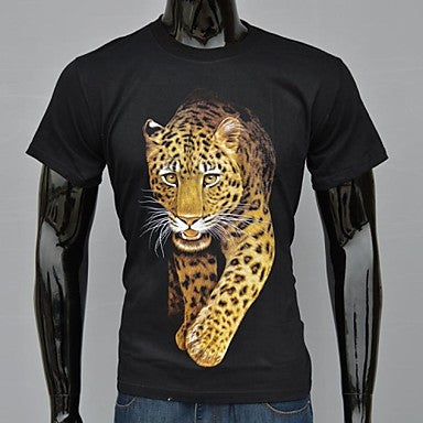Men's Fashion Black Leopard Moon Printed T-Shirt