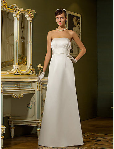 Sheath/Column Strapless Floor-length Satin Wedding Dress (710795)