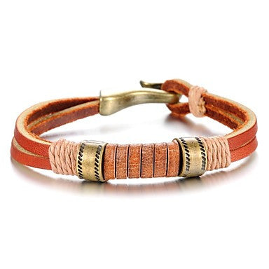 Retro Simplicity Line Leather Stainless Steel Bracelet (1 Pc)