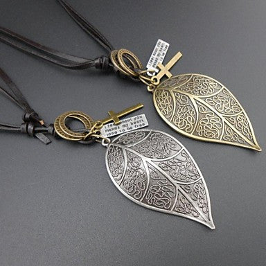 European Double Color Leaf Leather Pandant Necklace(1pc)