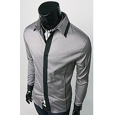 Men's Tailored Slim Shirt with Contrasting Panels