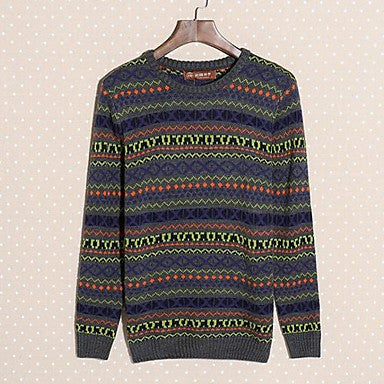 Men's Vintage Folk Style Hit Color Mosaic - Sleeve Warm Sweater