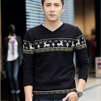 Men's Sets The Leisure Long-sleeved V-neck Wool Sweater