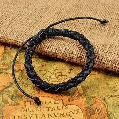 Classic Men's Adjustable Weave PU Leather Bracelets