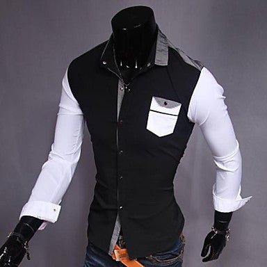 Men's Point Collar Long Sleeve Contrast Color Elastic Shirts