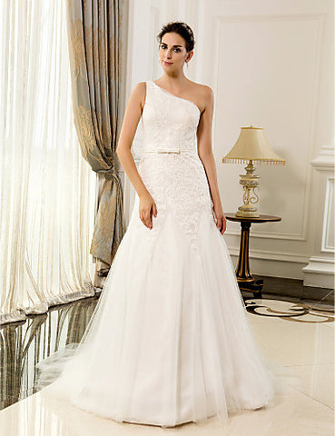 A-line One Shoulder Lace And Satin Floor-length Wedding Dresses