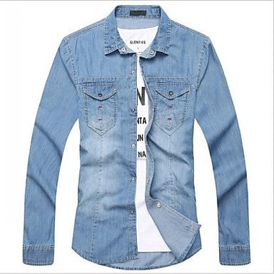 Men's New Spring Slim-fit Washed Fashion Top Quality Long Sleeve Casual Jean Shirts