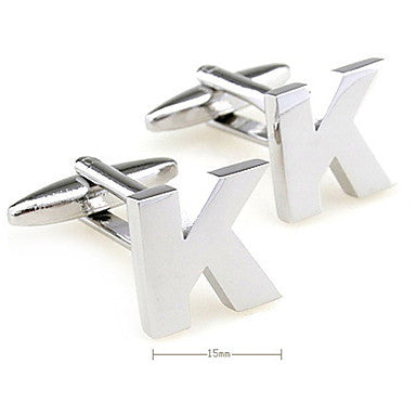 Letter K Pattern Unisex Cufflinks (Small)