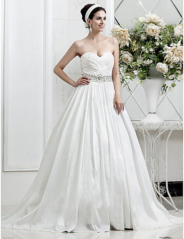 A-line Princess Sweetheart Taffeta wedding dress