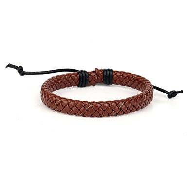 Comfortable Adjustable Men's Leather Cool Hard Bracelet Light Coffee Braided Leather(1 Piece)