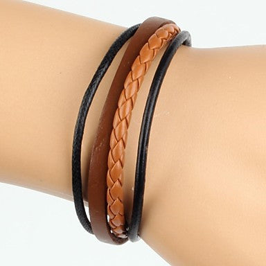 Simple Adjustable Men's Leather Bracelet Very Cool Coffee And Black Twist Leather (1 Piece)
