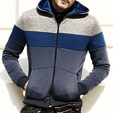 Men's Contrast Color Slim Hoodie Sweater