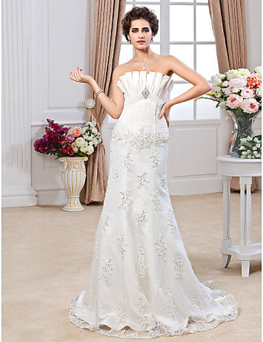 Trumpet/ Mermaid Strapless Sweep / Brush Train Tulle Satin Wedding Dress