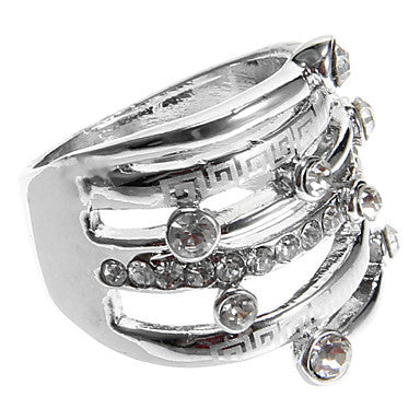 European Diamate Multiple Rounds Statement Rings(1 Pc)