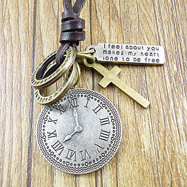 Vintage (Round Pendant) Coffee Leather Pendant Necklace(Silver) (1 Pc)
