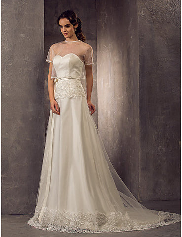 Sheath/Column Sweetheart Sweep/Brush Train Tulle And Satin Wedding Dress With Bow(s) With A Wrap