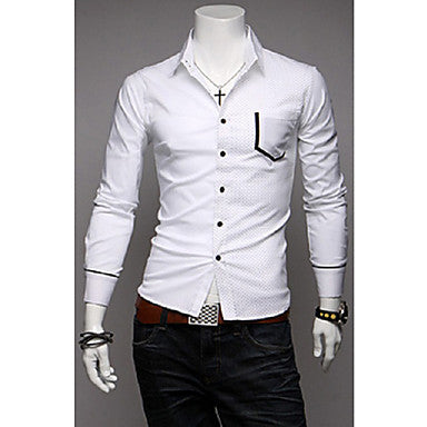 Men's Dots Stitching Long Sleeve Shirt