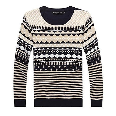 Men's Round Collar Long Sleeve Striped Sweaters