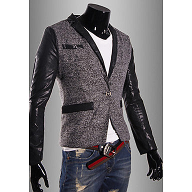 Men's Casual Stitching Color Matching PU Leather Outerwear