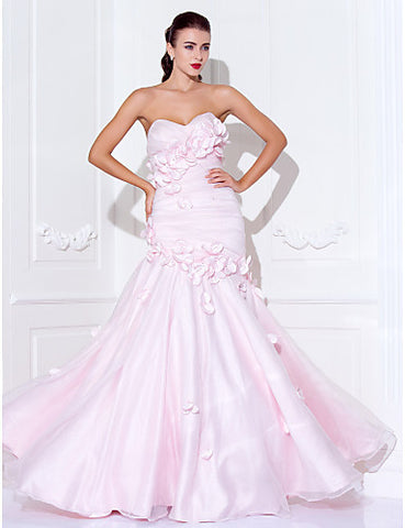 Trumpet/Mermaid Spaghetti Straps Sweetheart Floor-length Organza Satin Evening/Prom Dress