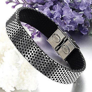Big High-end Fashion PU Titanium Steel Men's Bracelet