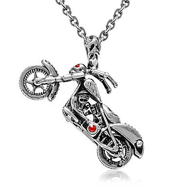 Men Titanium teel Necklace Red Eye kull Motorcycle Pendant with O chain 19""