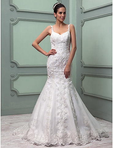 Trumpet/Mermaid Spaghetti Straps Sweep/Brush Train Organza Wedding Dress (604686)