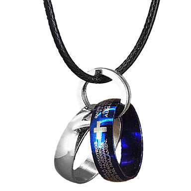 Fashion Two Ring Men's Pendant Necklace(1 Pc)