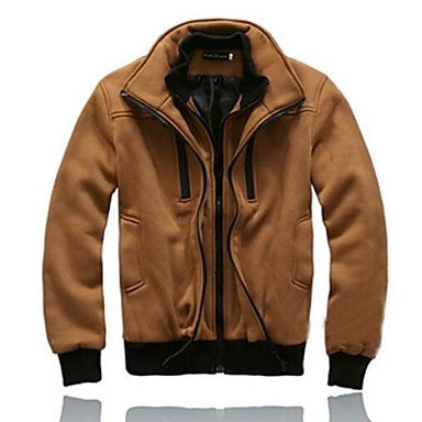 Men's Double Collar Zip Up Jacket