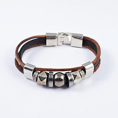 Gothic Men's Stainless Steel and PU Leather Bracelets