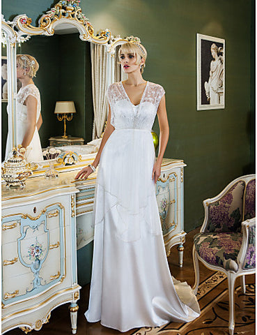 Sheath/Column Sweetheart Sweep/Brush Train Stretch Satin And Tulle Wedding Dress (699563)
