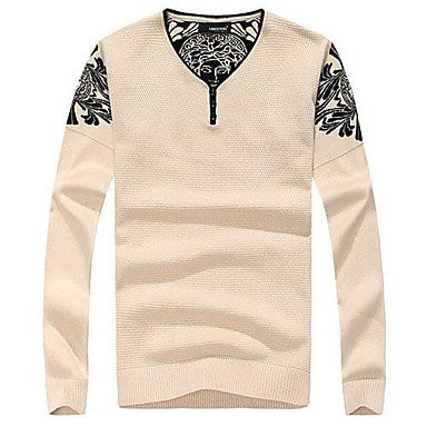 Men's Spring Fashion Long-Sleeved V-neck Sweater
