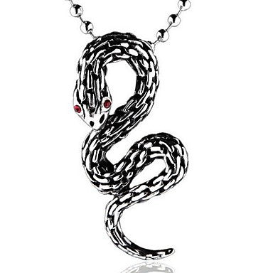 Mumar Classic Personalized Snake Shaped Stainless Steel Jewelry Pendant Necklace with 60 cm Chain