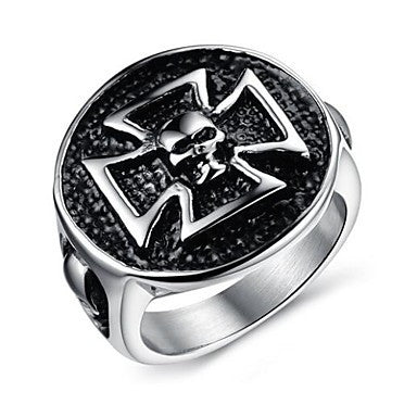Novelty Silver Metal Men's Retro Punk Rock Eagle Skull Fashion Ring