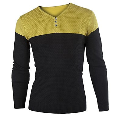 Men's Round Neck Contrast Color T-Shirt