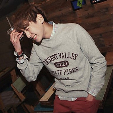 Men's Round Collar Letter Printing Long Sleeve T-Shirt