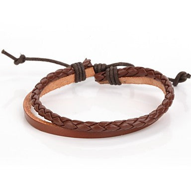 Simplicity Adjustable Men's Leather Bracelet Very Cool Brown Ox Leather (1 Piece)