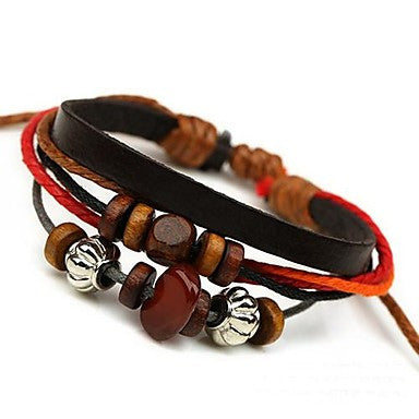 New Beaded Leather Bracelet (Random Color)