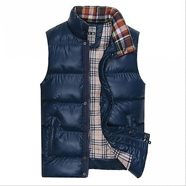Men's New Fashion Korea Style Stand Collar Sleeveless Casual Waistcoat Outwear