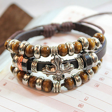 Classic Bohemia String Of Beads 21cm Unisex Brown Alloy Leather Bracelet(1 Pc)