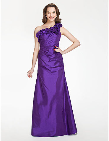 A-line One shoulder Floor-length Taffeta Bridesmaid Dress With Flower