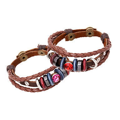 Classic Beads And Gem 20cm Men's Red,Purple Leather Leather Bracelet(Red,Purple)(1 Pc)