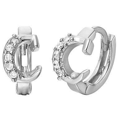 "Gifr for Boyfriend High Quality Silver Plated Letter ""C"" Men's Stud Earrings(1 pr)"