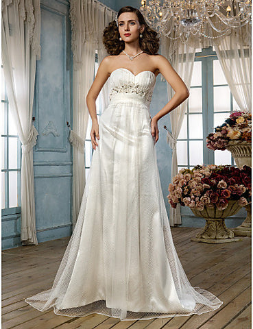 Sheath/Column Sweetheart Sweep/Brush Train Tulle Wedding Dress (604636)