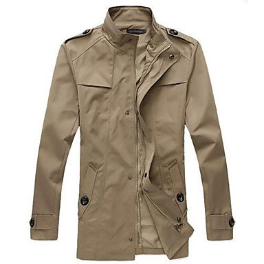 Men's Korean Style Slim Stand Trench Coat