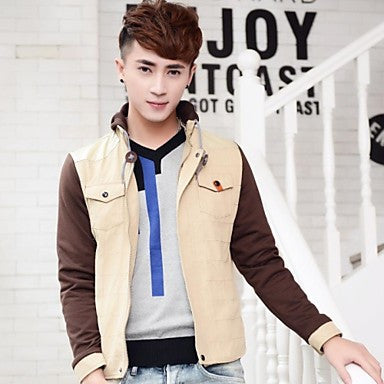 Men's Fashion Casual Turn Down Collar Long Sleeve Jacket