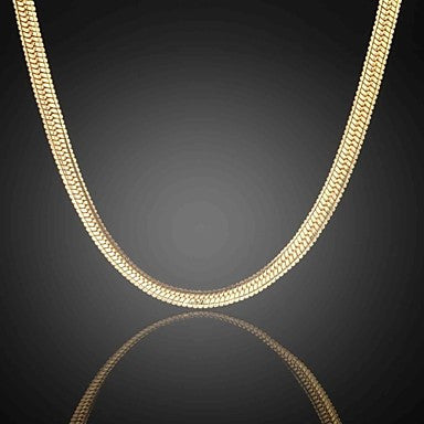 Never Fade Jack Men's 24K Real Gold Plated Figaro Densely Flat Necklace High Quality for Men 6MM 75CM